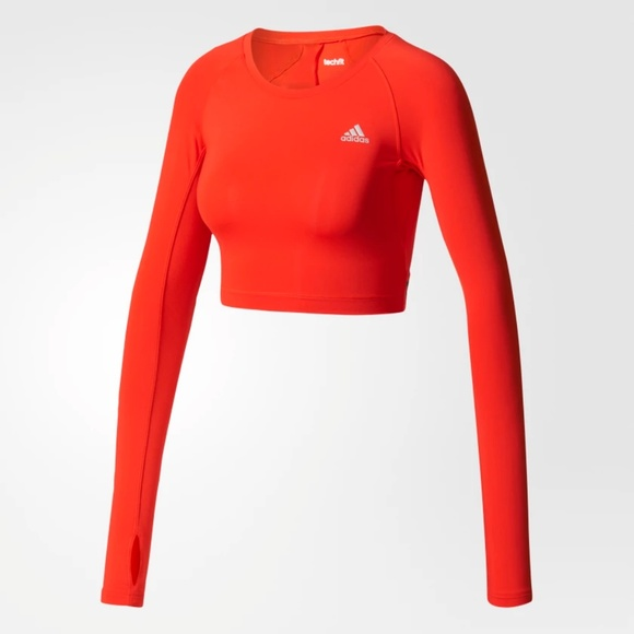 NWT Adidas TECHFIT L S Red Open Back Crop Top - S 9b5c1dff62f